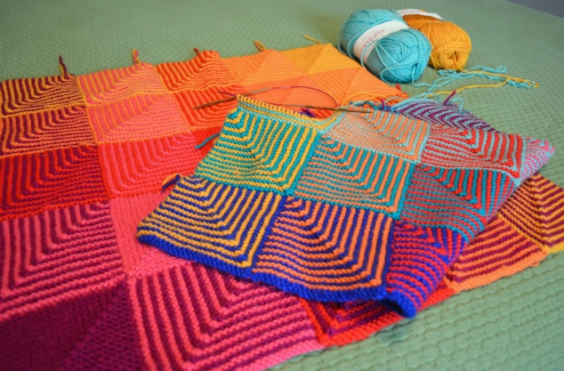 Hue Shift Afghan in progress